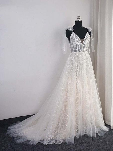Shinny Deep V-Neck Backless A-Line Wedding Dresses_1