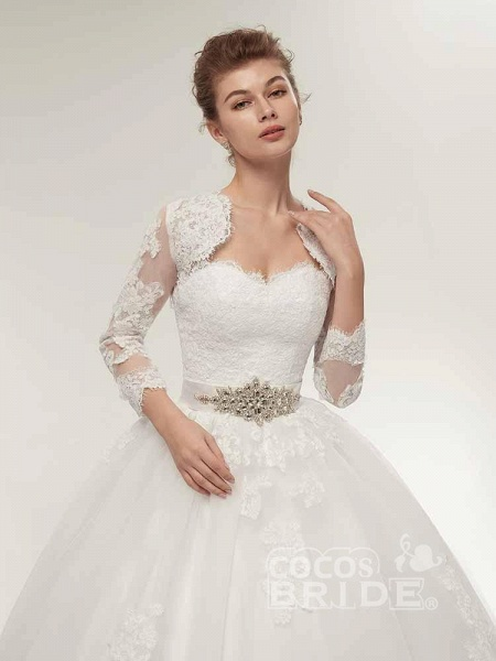 Off-The-Shoulder Lace Ball Gown Wedding Dresses_5