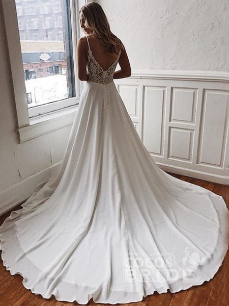 Simple Spaghetti-Strap V-Neck Sweep Train Ruffles Wedding Dresses_2