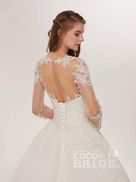 Elegant Long Sleeves Lace Appliques Wedding Dresses_5