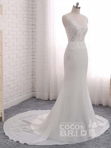 Modest V-Neck Lace Mermaid Wedding Dresses_4