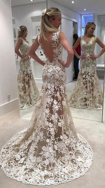 Ivory Sheer Back Jewel Neck Trumpet/Mermaid Lace Tulle Long Wedding Dress_2