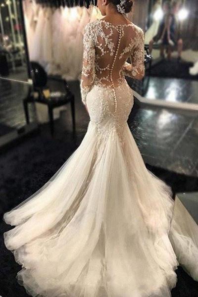 Gorgeous Long Sleeves Mermaid V-neck Gown Ivory Wedding Dress_1