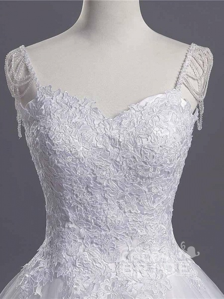 Gorgeous A-line Lace Appliques Wedding Dresses_4
