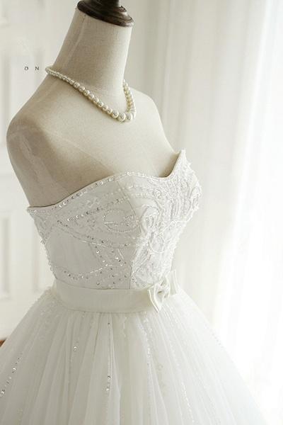 White Tulle Sweetheart Beaded Wedding Dress_2