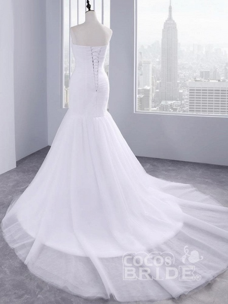 Affordable Ruffle Tulle Strapless Mermaid Wedding Dresses_2