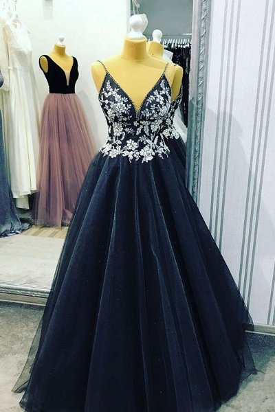 White Lace Long A Line Dark Navy Wedding Dress_1