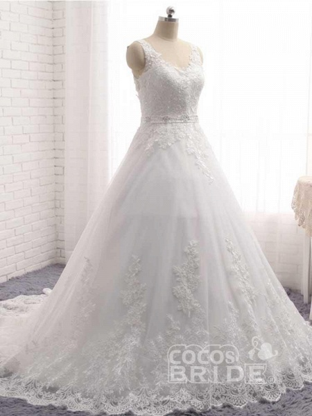 V-Neck Beaded Backless Lace A-Line Wedding Dresses_2