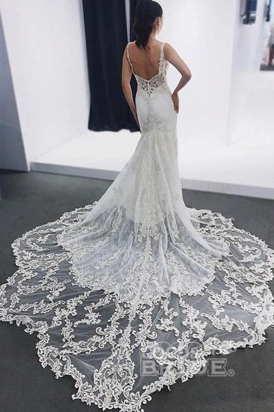 Straps Mermaid Sleeveless Appliques Beach Wedding Dress_3