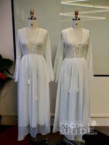 Gorgeous V-Neck Long Sleeves Floor Length Ruffles Wedding Dresses_3