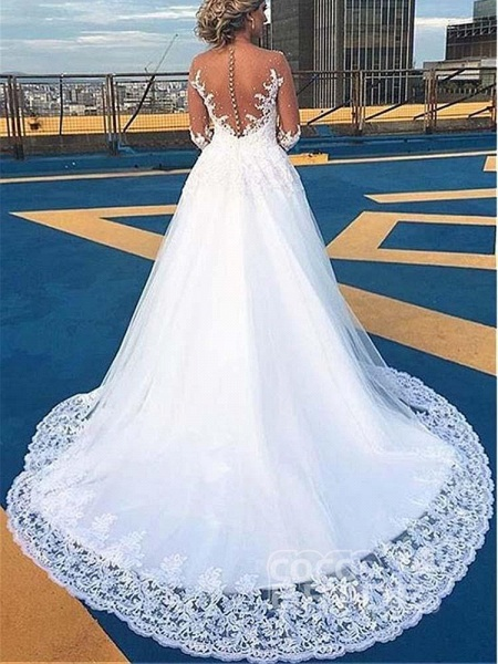 V-Neck Long Sleeves Covered Button Ball Gown Wedding Dresses_2