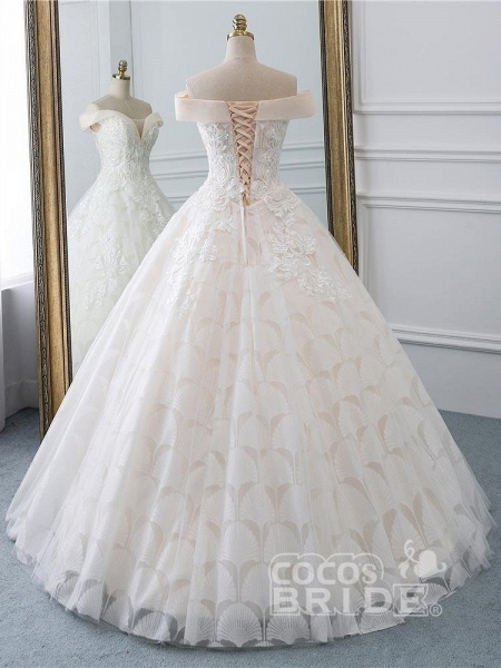 Popular Off-the-Shoulder Lace-Up Ball Gown Wedding Dresses_3