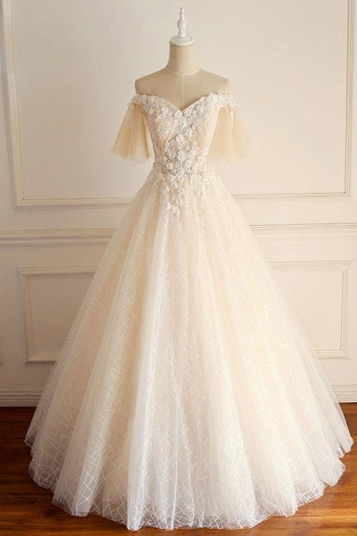 Light Champagne Tulle lace Short Sleeve Strapless Long Wedding Dress_1