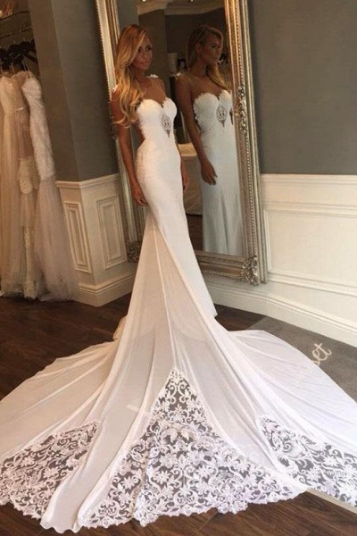 Mermaid Sexy Sheer Neck with Lace Unique Ivory Wedding Dress_5