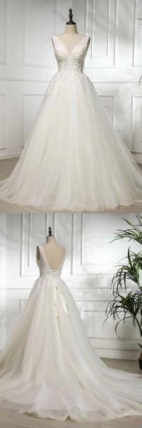 V Neck Long Lace White Lace Sweep Train Wedding Dress_4