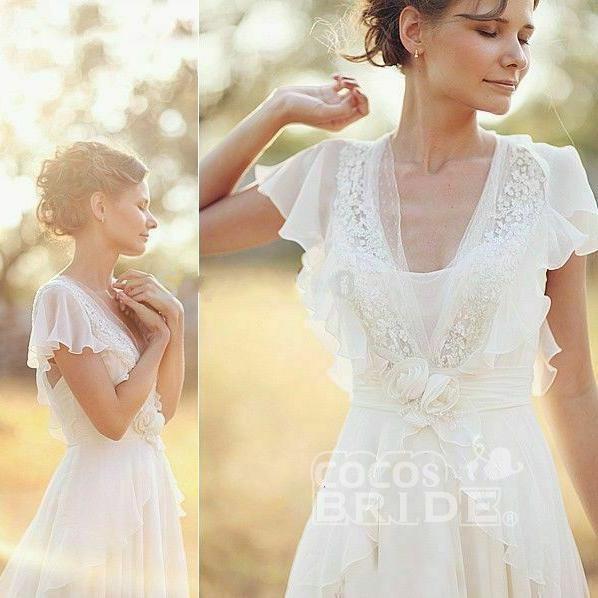 Ivory V Neck Chiffon Boho Unique Cap Sleeves Beach Wedding Dress_4