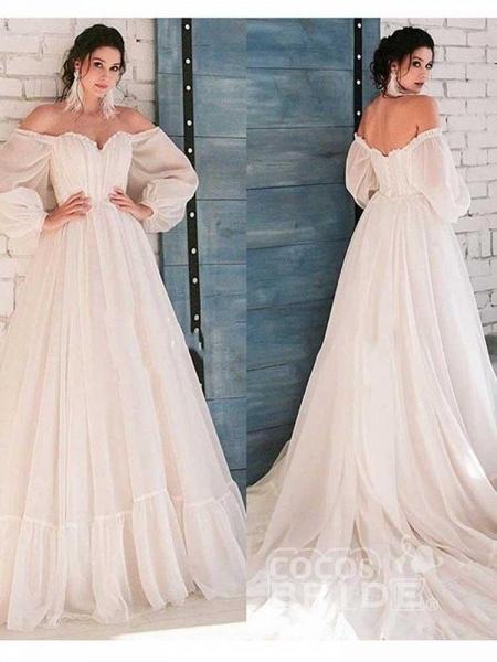 Glamorous A-Line Ruffles Long Sleeve Wedding Dresses_3