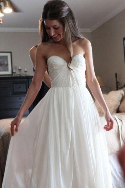 Floor Length Sweetheart Chiffon Boho Long Beach Wedding Dress_1