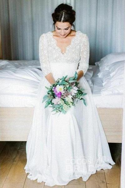 Floor Length Chiffon Beach Lace Backless Wedding Dress_2