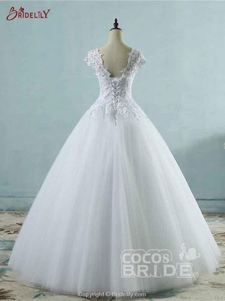 Lace White Cap Sleeves Ball Gown Tulle Wedding Dresses_2