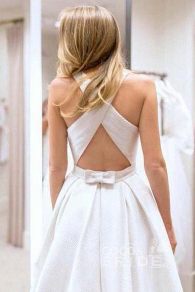 Simple A-Line Criss Cross Back Satin with Pockets Cheap Wedding Dress_2