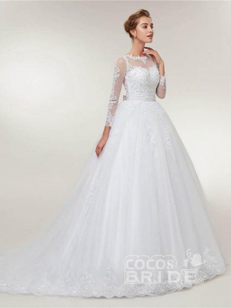 Elegant Long Sleeves Lace Detachable Train Ball Gown Wedding Dresses_3
