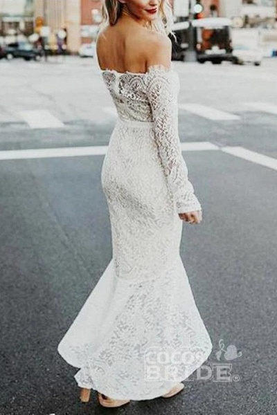 High Low Long Sleeves Mermaid Off the Shoulder Lace Wedding Dress_3