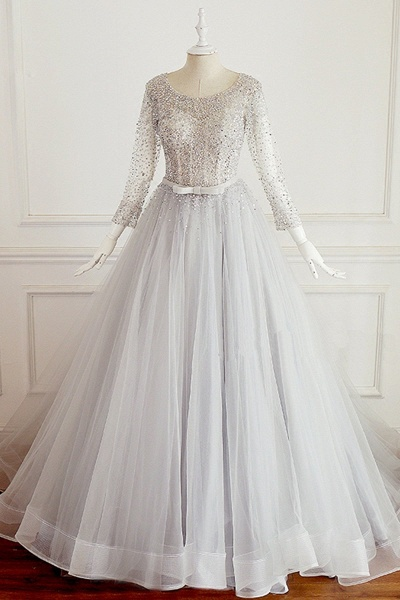 Light Gray Tulle Silver Beaded Long Sleeve Wedding Dress With Bow_1