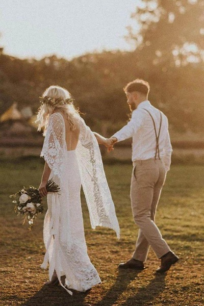 Ivory Boho with Batwing Sleeve Lace Rustic Backless Wedding Dress_1