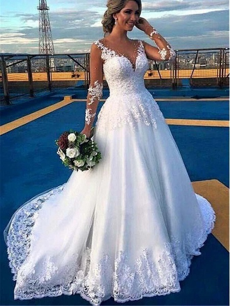 V-Neck Long Sleeves Covered Button Ball Gown Wedding Dresses_1