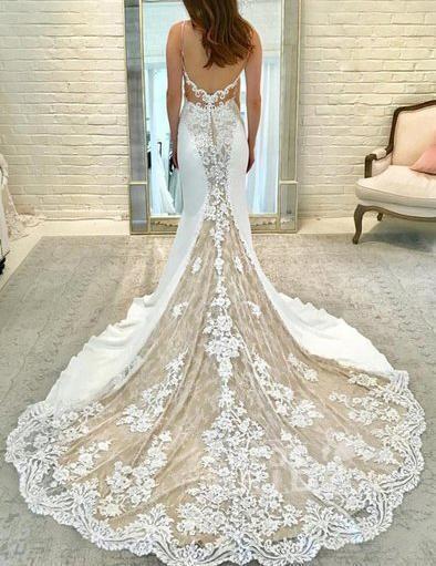 Ivory Satin Gorgeous Lace Spaghetti Strap Vintage Mermaid Wedding Dress_2