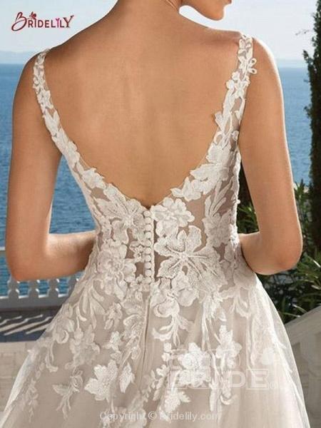 Lace Appliques Open Back A-Line Wedding Dresses_2