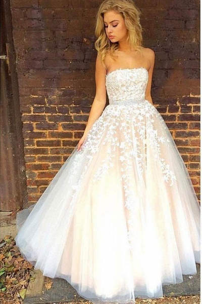 Princess A-line Strapless Tulle Long with Lace Appliques Wedding Dress_1