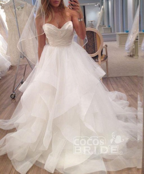 A Line Ivory Sweetheart Strapless Layered Tulle Long Beach Wedding Dress_2