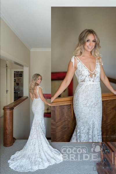 V Neck Sleeveless Mermaid Romantic Lace Gowns Wedding Dress_3