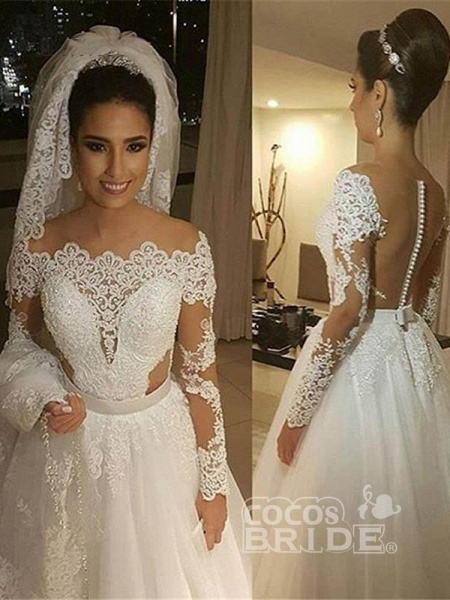 Elegant Long Sleeves Lace Covered Button Ball Gown Wedding Dresses_5