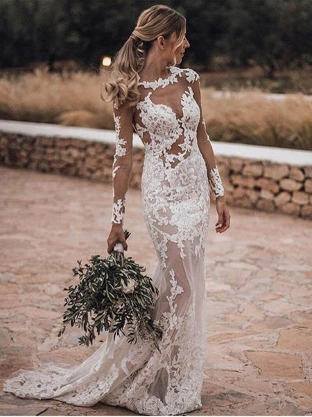 Appliques Long Sleeve Lace Mermaid Wedding Dresses_1