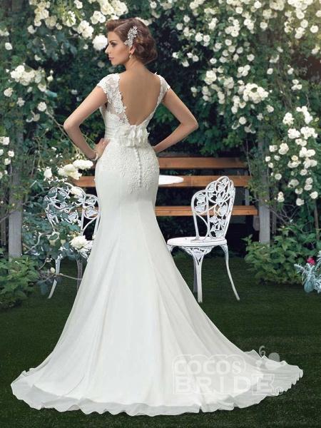 Fashion Cap Sleeve Lace Backless Mermaid Wedding Dresses_2