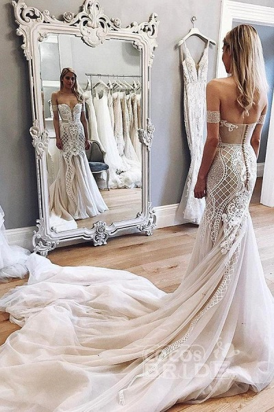 Gorgeous Mermaid Off-the-Shoulder Chapel Train Ivory Tulle Wedding Dress_2