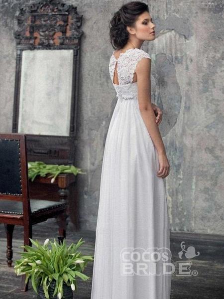 Gorgeous Off-the-Shoulder High Waist A Line Wedding Dresses_2