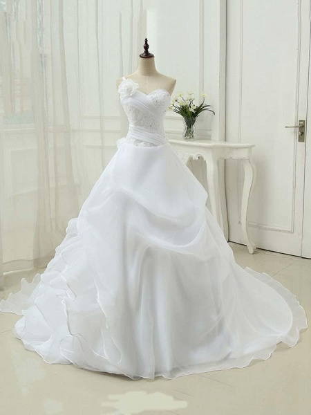 Modest One Shoulder Sweetheart Flower A-Line Wedding Dresses_1