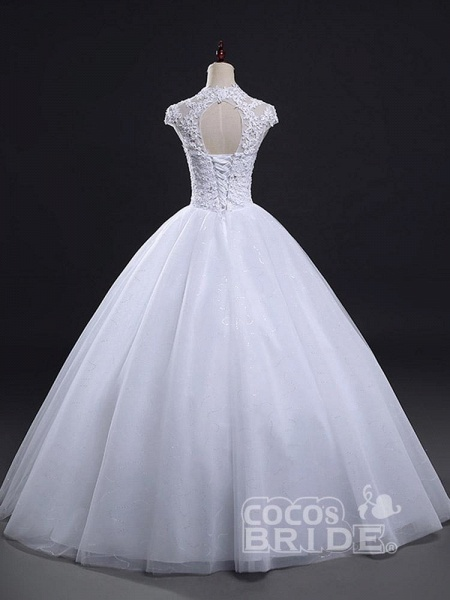 V-Neck Cap Sleeves Ball Gown Lace Wedding Dresses_3