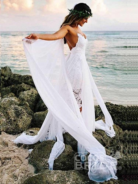 Spaghetti-Strap Backless Lace Bohemian Wedding Dresses_5