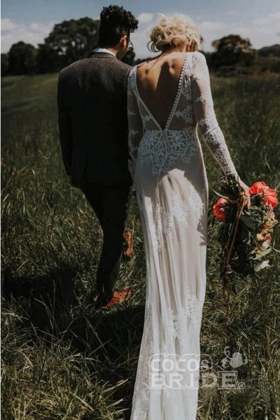 Long Sleeve Lace Beach Country Wedding Dress_2