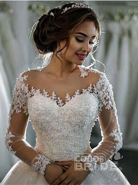 Modest Sheer Neck Long Sleeves Ball Gown Wedding Dresses_3