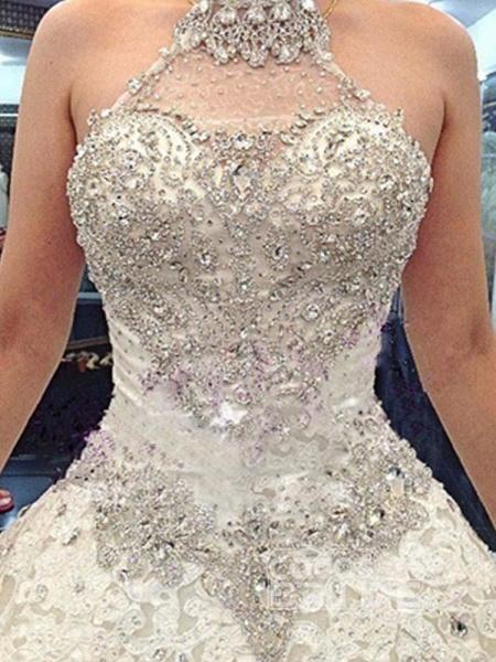 Elegant Halter Lace Sashes Ball Gown Wedding Dresses_3