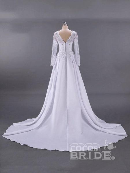 Long Sleeves Beaded Zipper Sweep Train Wedding Dresses_2