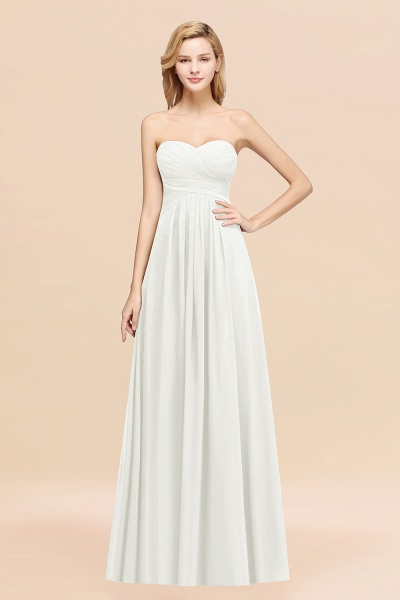 A-line Chiffon Sweetheart Strapless Ruffles Floor-length Bridesmaid Dress_2