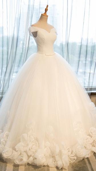 White Organza Off-Shoulder Wedding Dresses_2