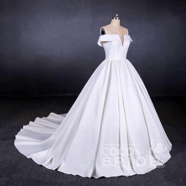 Puffy Off the Shoulder Satin Ball Gown Long Train Wedding Dress_4